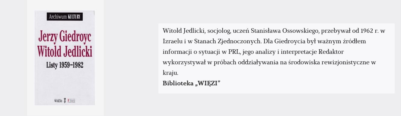 Jerzy Giedroyc, Witold Jedlicki. Listy 1959-1982 | Książka tygodnia